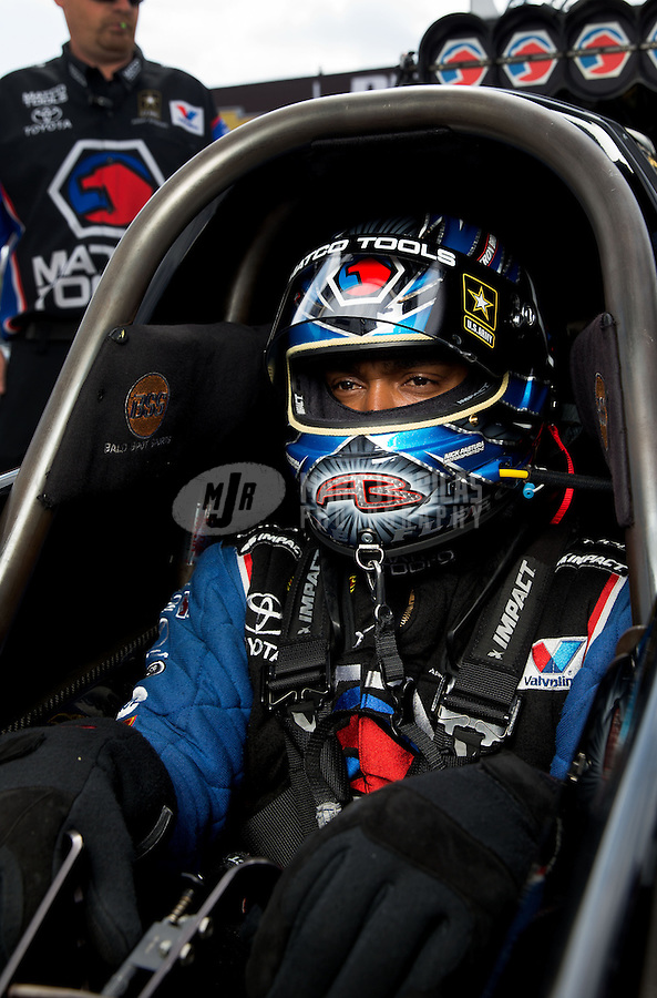 Sept. 1, 2013; Clermont, IN, USA: NHRA top fuel dragster driver Antron Brown during qualifying for the US Nationals at Lucas Oil Raceway. Mandatory Credit: Mark J. Rebilas-