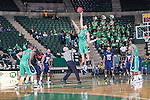 North Texas Mean Green forward Tony Mitchell (13) gets the tip off during the game between the Jackson State Tigers and the North Texas Mean Green at the Super Pit arena in Denton, Texas. UNT defeats Jackson State 83 to 65...