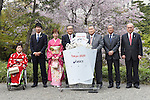 (L-R) Haruka Kitaura, Yoshihide Kiryu, Kasumi Ishikawa, Motoi Oyama, Yoshiro Mori, Tsunekazu Takeda, Mitsunori Torihara, <br /> APRIL 6, 2015 : <br /> Asics has Press conference in Tokyo. <br /> Asics announced that it has entered into a partnership agreement with the Tokyo Organising Committee of the Olympic and Paralympic Games. With this agreement, Asics becomes the gold partner. <br /> (Photo by AFLO SPORT)