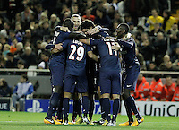 Paris Saint-Germain's players celebrate goal during Champions League 2012/2013 match.February 12,2013. (ALTERPHOTOS/Acero) /NortePhoto