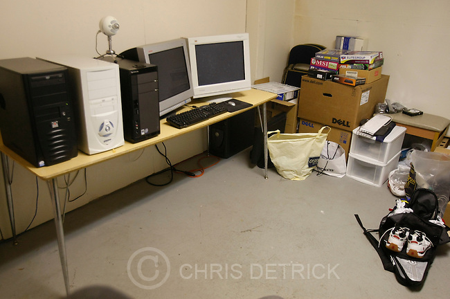 "The computer servers in the basement storage room of the Screen-Scraper office in Provo, Utah Thursday October 7, 2010.  Screen-Scraper specializes in extracting data on the internet and has business since 2002..CREDIT: Chris Detrick for The Wall Street Journal.""WTKSCRAPE"""