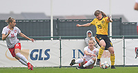 20190409 - TUBIZE , Belgium : Belgian Aster Janssens (15) pictured with Polish Angelika Kolodziejek (left) and Polish Joanna Weclawek (middle) during a women soccer game between the under 19 teams of Belgium and Poland. This is the Third and final game in their elite round qualification for the European Championship in Schotland 2019. The Belgian national women's soccer team is called the Red Flames, on the 9 th of April in Tubize. PHOTO DAVID CATRY | Sportpix.be