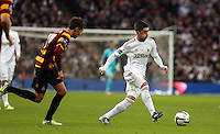 Pictured: (L-R) Will Atkinson, Pablo Hernandez. Sunday 24 February 2013<br /> Re: Capital One Cup football final, Swansea v Bradford at the Wembley Stadium in London.
