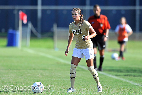 19 August 2012:  FIU Defender/Midfielder Marie Egan (6) looks to pass the ball in the second half as the FIU Golden Panthers defeated the University of Jacksonville Dolphins, 2-1, at University Park Stadium in Miami, Florida.