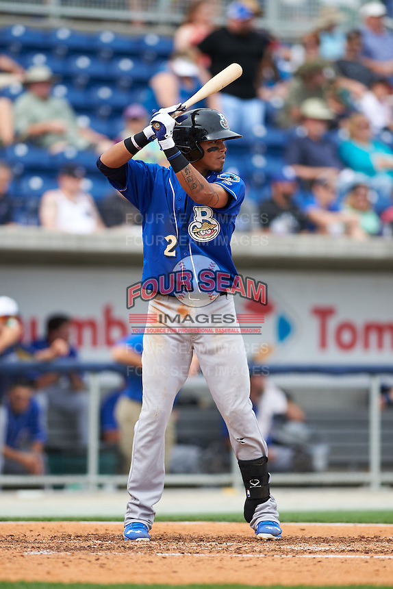 Biloxi Shuckers shortstop Orlando Arcia (2) at bat during the first game of a double header against the Pensacola Blue Wahoos on April 26, 2015 at Pensacola Bayfront Stadium in Pensacola, Florida.  Biloxi defeated Pensacola 2-1.  (Mike Janes/Four Seam Images)