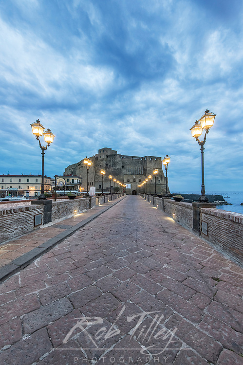 Europe, Italy, Naples, Castel dell'Ovo at Dawn