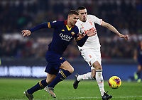 12th January 2020; Stadio Olympico, Rome, Italy; Italian Serie A Football, Roma versus Juventus; Edin Dzeko of AS Roma challenged by Merih Demiral of Juventus