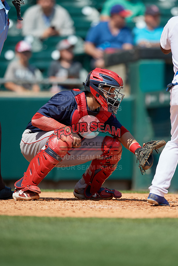 Pawtucket Red Sox catcher Oscar Hernandez (7) waits to receive a pitch during a game against the Buffalo Bisons on June 28, 2018 at Coca-Cola Field in Buffalo, New York.  Buffalo defeated Pawtucket 8-1.  (Mike Janes/Four Seam Images)