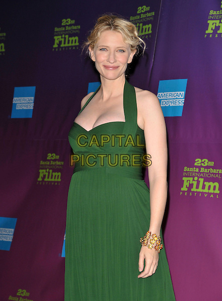 CATE BLANCHETT.Attends The 23rd annual Santa Barbara International Film Festival's Modern Master Award Presentation held at The Arlington Theatre in Santa Barbara, California, USA, January 26th 2008..half length green halterneck pleated dress pregnant gold  bracelet .CAP/DVS.©Debbie VanStory/Capital Pictures