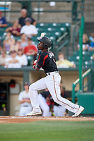 Rochester Red Wings shortstop Nick Gordon (1) hits a triple during a game against the Lehigh Valley IronPigs on September 1, 2018 at Frontier Field in Rochester, New York.  Lehigh Valley defeated Rochester 2-1.  (Mike Janes/Four Seam Images)