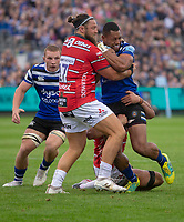 Bath Rugby's Joe Cokanasiga is tackled by Gloucester Rugby's Josh Hohneck<br /> <br /> Photographer Bob Bradford/CameraSport<br /> <br /> Gallagher Premiership - Bath Rugby v Gloucester Rugby - Saturday September 8th 2018 - The Recreation Ground - Bath<br /> <br /> World Copyright &copy; 2018 CameraSport. All rights reserved. 43 Linden Ave. Countesthorpe. Leicester. England. LE8 5PG - Tel: +44 (0) 116 277 4147 - admin@camerasport.com - www.camerasport.com
