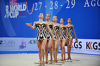 Rhythmic group from Bulgaria performs with 5-hoops at 2010 Pesaro World Cup on August 29, 2010 at Pesaro, Italy.  Photo by Tom Theobald.