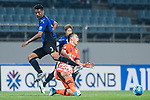 Gamba Osaka Defender Fabio Da Silva (L) trips up with Jeju United Forward Marcelo Toscano (R) during the AFC Champions League 2017 Group H match Between Jeju United FC (KOR) vs Gamba Osaka (JPN) at the Jeju World Cup Stadium on 09 May 2017 in Jeju, South Korea. Photo by Marcio Rodrigo Machado / Power Sport Images