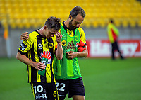 Michael McGlinchey (left) and Andrew Durante after the A-League football match between Wellington Phoenix and Sydney FC at Westpac Stadium in Wellington, New Zealand on Saturday, 23 December 2017. Photo: Dave Lintott / lintottphoto.co.nz