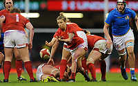 Wales Keira Bevan whips the ball out<br /> <br /> Photographer Ian Cook/CameraSport<br /> <br /> 2018 Women's Six Nations Championships Round 4 - Wales Women v Italy Women - Sunday 11th March 2018 - Principality Stadium - Cardiff<br /> <br /> World Copyright &copy; 2018 CameraSport. All rights reserved. 43 Linden Ave. Countesthorpe. Leicester. England. LE8 5PG - Tel: +44 (0) 116 277 4147 - admin@camerasport.com - www.camerasport.com