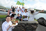14-8-2014: repro free photo: A FEAST OF CULINARY ATHLETICS TO KICK OF IRELAND&rsquo;S FOODIEST FESTIVAL<br /> Student chef, Liadan Sheehy in front with chefs and local producers from Dingle pictured at the launch od the Dingle Food Festival which will take palce from October 3rd-5th. Included in photo are from left, Jerry Kennedy, butcher, Jim Mccarthy, restauranteur, Niall O'Conchuir, chef, and vegatable grower Derek O'Connor. At back, Clevlio Romirea, fisherman, chefs Mark Murphy, Jean marie Vaireaux, Martin Bealin, Jill Burton, Milkman Timmy Brick and  and bee keeper, Thomas Kavanagh.<br /> <br /> press release:<br /> Having been voted the No.1 Foodiest Town in Ireland earlier this year, Dingle will kick off its hugely popular Dingle Peninsula Food Festival, 3- 5 October, with a feast of culinary athletics, leaving visitors in no doubt as to why the town won this much coveted title.<br /> <br /> The inaugural Dingle Culinary Pentathlon, which will take place on the first day of the Festival, will see students from professional culinary schools throughout the country test their athletic and cookery skills to the limit. To win, students will have to race through the town, on foot and by bike, picking up a blind basket of ingredients en route.  They will then have to create a 2 course lunch in a heated cook off that will be judged by peers and top professionals alike.   <br /> <br /> To celebrate the festival&rsquo;s 8th anniversary, The Taste Trail, one of the most popular ingredients of the weekend, will now take in 80 establishments around the town; Derry Clarke, who has created the ultimate Dingle Pie, will be raising funds for charity on the Trail at Liam O&rsquo;Neill&rsquo;s art gallery, while milliner, Kathleen McAuliffe will be serving up Mad Hatter cocktails with Dingle Gin and jazz.  Free demos and workshops include a mix of local and national chefs such as Martin Bealin of Dingle&rsquo;s Global Village, which won Best Emerging Irish Cuisine at the RAI awards and Nevin McGuire, voted the Best Chef in Ireland, who will mak