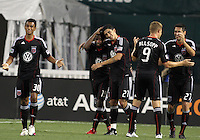 Junior Carreiro #30, Clyde Simms #19, Pablo Hernandez #21, Danny Allsopp #9 and Branko Boskovic #27 of D.C. United after Pablo Hernandez #21 had scored during an international friendly match against Portsmouth FC at RFK Stadium on July 24 2010, in Washington D.C. United won 4-0.