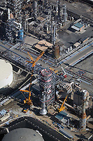aerial oil refinery construction Long Beach Los Angeles, California