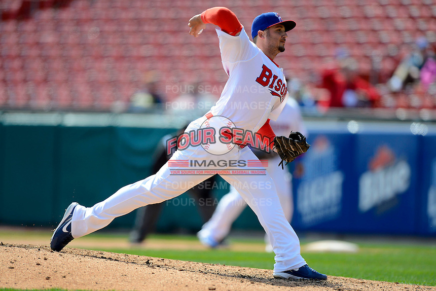 Buffalo Bisons pitcher Clint Everts #58 during the first game of a doubleheader against the Pawtucket Red Sox on April 25, 2013 at Coca-Cola Field in Buffalo, New York.  Pawtucket defeated Buffalo 8-3.  (Mike Janes/Four Seam Images)