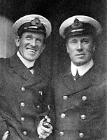 BNPS.co.uk (01202 558833)<br /> Pic: HAldridge/BNPS<br /> <br /> White Star officer David Blair (left) on RMS Majestic in August 1912 - he was removed from the Titanic at the last moment, taking the key's to the crows nest binocular box with him.<br /> <br /> A remarkable photo album taken by a White Star line officer Philip Agathos Bell that contains haunting before-and-after images of the most senior officer to survive the Titanic disaster has come to light.<br /> <br /> The contrasting snaps of Second Officer Charles Lightoller show him stood proudly and confidently in his White Star Line uniform in and then one of him looming gaunt and drawn from his recent ordeal.<br /> <br /> Another incredible image shows the football team for While Star Line.