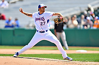 Tennessee Smokies pitcher Zach Hedges (27) delivers a pitch during a game against the Jackson Generals at Smokies Stadium on April 11, 2018 in Kodak, Tennessee. The Generals defeated the Smokies 6-4. (Tony Farlow/Four Seam Images)