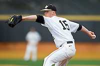 Wake Forest Demon Deacons relief pitcher Jack Fischer #15 in action against the Florida State Seminoles in the completion of the suspended game from March 23rd at Wake Forest Baseball Park on March 24, 2012 in Winston-Salem, North Carolina.  The Seminoles defeated the Demon Deacons 5-4 in 11 innings.  (Brian Westerholt/Four Seam Images)