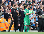 Jurgen Klopp manager of Liverpool and Josep Guardiola manager of Manchester City exchange words during the premier league match at the Etihad Stadium, Manchester. Picture date 9th September 2017. Picture credit should read: David Klein/Sportimage