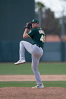 Oakland Athletics relief pitcher Heath Bowers (49) during a Minor League Spring Training game against the San Francisco Giants at Lew Wolff Training Complex on March 26, 2018 in Mesa, Arizona. (Zachary Lucy/Four Seam Images)