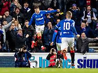 5th February 2020; Ibrox Stadium, Glasgow, Scotland; Scottish Premiership Football, Rangers versus Hibernian; Ianis Hagi of Rangers celebrates after scoring `rangers second goal making it 2-1 to Rangers