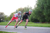 INLINE-SKATEN: STEENWIJK: Gagelsweg (start/finish), Schansweg, Meppelerweg, KPN Inline Cup, Klim van Steenwijk, 02-05-2012, Niels Mesu (#77), Victor Wilking (#138), ©foto Martin de Jong
