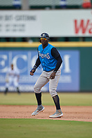 Tampa Tarpons Didi Gregorius (11), on rehab assignment from the New York Yankees, leads off first base during a Florida State League game against the Bradenton Marauders on May 26, 2019 at LECOM Park in Bradenton, Florida.  Bradenton defeated Tampa 3-1.  (Mike Janes/Four Seam Images)