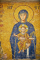 12th Century Byzantine mosaic of  The Madonna & Child,  Hagia Sophia, Istanbul, Turkey