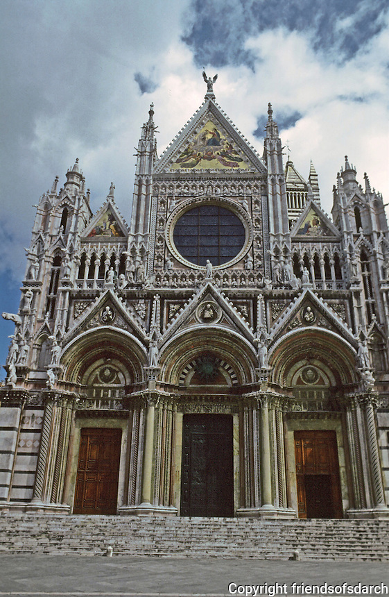 Siena:   Duomo,  S. Maria  Della Assunta, 1196-1313.  Lower facade, Giovanni Pisano 1285-  Photo '83.