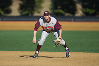 Virginia Tech Hokies first baseman Brendon Hayden (34) on defense against the Wake Forest Demon Deacons at Wake Forest Baseball Park on March 7, 2015 in Winston-Salem, North Carolina.  The Hokies defeated the Demon Deacons 12-7 in game one of a double-header.   (Brian Westerholt/Four Seam Images)