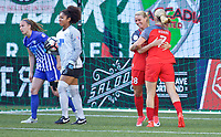 Portland, OR - Saturday May 27, 2017: Amandine Henry, Lindsey Horan celebrate a goal during a regular season National Women's Soccer League (NWSL) match between the Portland Thorns FC and the Boston Breakers at Providence Park.