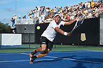Bar Botzer of the Wake Forest Demon Deacons reaches for the ball during his match against the Ohio State Buckeyes at #4 singles during the 2018 NCAA Men's Tennis Championship at the Wake Forest Tennis Center on May 22, 2018 in Winston-Salem, North Carolina.  The Demon Deacons defeated the Buckeyes 4-2. (Brian Westerholt/Sports On Film)