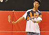 Ethan Wu of Great Neck South returns a volley from Syosset's Eric Wang (not pictured) during a second singles varsity boys badminton match at Syosset High School on Thursday, Oct. 6, 2016. Wu won 2-1.