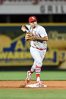 Palm Beach Cardinals shortstop Alex Mejia (7) during a game against the Bradenton Marauders on April 8, 2014 at McKechnie Field in Bradenton, Florida.  Bradenton defeated Palm Beach 4-3.  (Mike Janes/Four Seam Images)