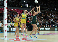 15.09.2018 South Africa's Lenize Potgieter and Australia's Jo Weston in action during the Australia v South Africa netball test match at Spark Arena in Auckland. Mandatory Photo Credit ©Michael Bradley.