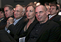 Yianis Varoufakis (R) with wife Danae Stratou at the Mera25 Diem political party convention at the Ilissia Theatre, Athens, Greece. Monday 26 March 2018