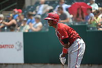 Altoona Curve outfielder Keon Broxton (53) during game against the New Britain Rock Cats  at New Britain Stadium on June 25, 2014 in New Britain, Connecticut. New Britain defeated Altoona 3-1.  (Tomasso DeRosa/Four Seam Images)