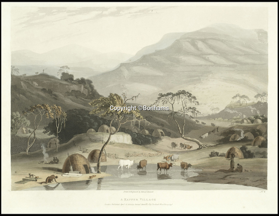 BNPS.co.uk (01202 558833)<br /> Pic: Bonhams/BNPS<br /> <br /> A 200-year-old volume of art work that gave Briton's their first look at the country of South Africa has surfaced. <br /> <br /> Natural history painter Samuel Daniell became one of the first to depict the African country while on an expedition there at the turn of the 19th century. <br /> <br /> His raw, almost photographic, paintings were shipped back to the UK to offer westerners a before unseen window into South Africa. <br /> <br /> The stunning works, which were done before the dawn of photography, picture wild animals and native peoples against the rugged backdrop of the the country's Atlantic coast. <br /> <br /> This first edition copy has been in private ownership in South Africa for the past century but will be sold on February 1 by Bonhams auctioneers. <br /> <br /> It is thought to be worth up to £25,000.