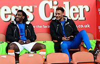 Blackpool's Sessi D'Almeida (L) and Christoffer Mafoumbi look on from the bench<br /> <br /> Photographer Richard Martin-Roberts/CameraSport<br /> <br /> The EFL Sky Bet League One - Blackpool v Walsall - Saturday 10th February 2018 - Bloomfield Road - Blackpool<br /> <br /> World Copyright &copy; 2018 CameraSport. All rights reserved. 43 Linden Ave. Countesthorpe. Leicester. England. LE8 5PG - Tel: +44 (0) 116 277 4147 - admin@camerasport.com - www.camerasport.com