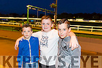 Cillian O'Sullivan, David Hughes and Jamie Burrows enjoying a night at the Dogs at the Kingdom Greyhound Stadium on Friday
