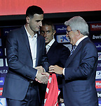 Atletico de Madrid's new player Nikola Kalinic (l) with the General Manager Andrea Berta (c) and the President Enrique Cerezo during his official presentation. August 13, 2018. (ALTERPHOTOS/Acero)