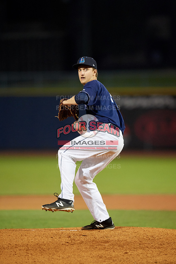 Lake County Captains starting pitcher Cameron Mingo (47) delivers a pitch during the second game of a doubleheader against the South Bend Cubs on May 16, 2018 at Classic Park in Eastlake, Ohio.  Lake County defeated South Bend 5-2.  (Mike Janes/Four Seam Images)
