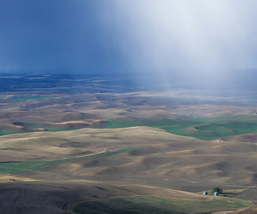 Snow falls on the Palouse as seen from Steptoe Butte in Eastern Washington State.