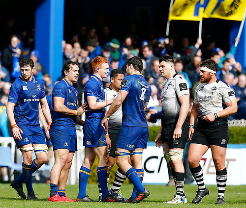 7th April 2018, RDS Arena, Dublin, Ireland; Guinness Pro14 rugby, Leinster versus Zebre; The two teams shakes hands at full-time