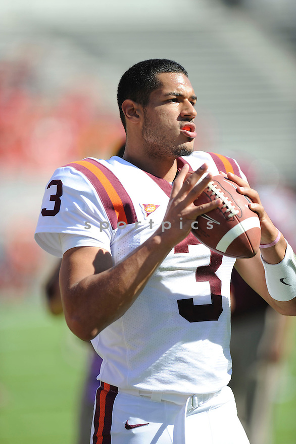 LOGAN THOMAS, of Virginia Tech in action during their game against NC State on October 2, 2010 in Blacksburg, VA.<br /> <br /> Virginia Tech won 41-30