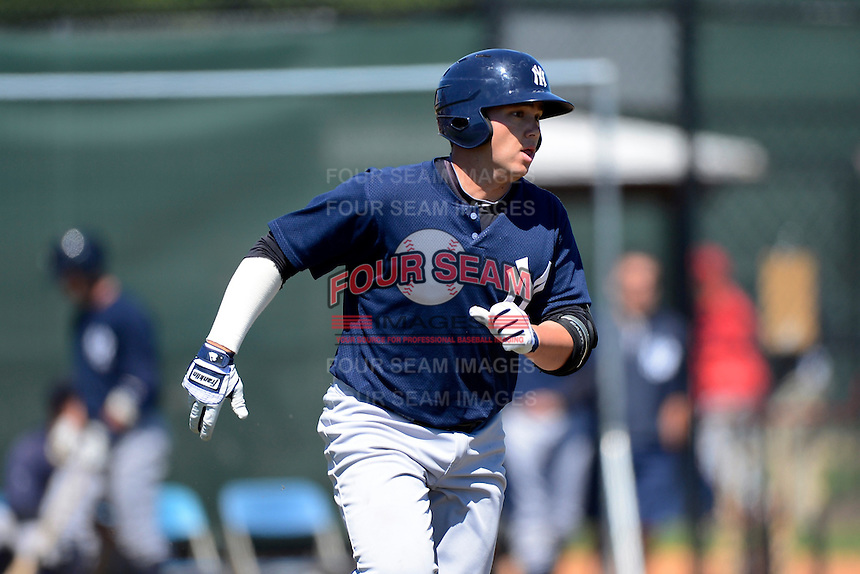 New York Yankees third baseman Dante Bichette Jr. #35 during a minor league Spring Training game against the Philadelphia Phillies at Carpenter Complex on March 21, 2013 in Clearwater, Florida.  (Mike Janes/Four Seam Images)
